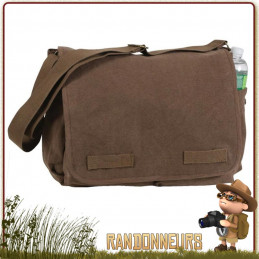 Sac Besace coton Vintage Classic Messenger BRUN Rothco scolaire
