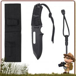 Couteau de survie Manche Paracorde us 550 Noir Rothco france