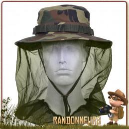 Chapeau Boonie jungle camouflage avec moustiquaire intégrée qui se range à l'intérieur du chapeau zone tropicale