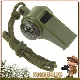 Sifflet de secours avec boussole et thermomètre. Le sifflet de secours peut faire office de porte clés highlander