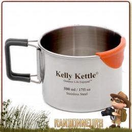Tasse Acier Inox ultra robuste de 50 cl Kelly Kettle avec anses repliables et embout silicone anti brulures