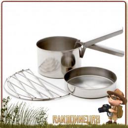 Set Cuisson LARGE Kelly Kettle acier inox pour bouilloire réchaud bois Kelly Kettle, pot, poêle, grill set vaisselle bushcraft