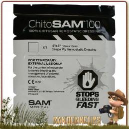 Compresse hémostatique 10x10 Chito SAM 100 sam medical accélère la coagulation du sang lors des premiers soins