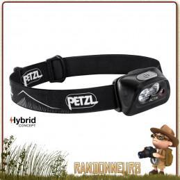 Lampe Frontale PETZL Actik Noire multi faisceau pour l'éclairage des activités extérieures et randonnée 350 lumens