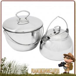 Set Popote Campfire Inox Muurikka bivouac bushcraft avec casserole et bouilloire