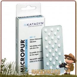 Comprimés MICROPUR Classique MC 1T Katadyn à base d'ions argent pour la conservation de l'eau potable filtrée