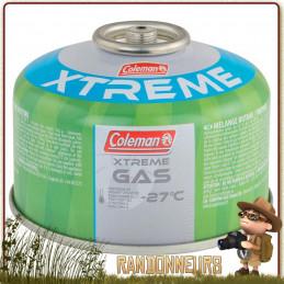 Cartouche à valve 100g C100 Xtrem Coleman pour une utilisation grand froid montagne