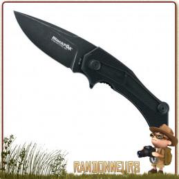 Couteau pliant de survie MUNIN Black Fox entièrement en acier 440C finition blackwash avec flipper et cran intérieur