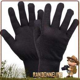 Gants Liner Noir Rothco chauds et léger pour la chasse randonnée bushcraft