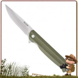 Couteau pliant LANGFORD Buck lame lame drop point acier 7Cr avec « flipper » manche G10