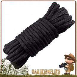 Corde tactique Militaire Polyester 9mm de 15 mètres NOIRE bivouac bushcraft