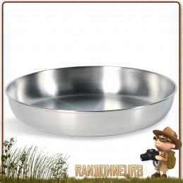 Assiette Picnic acier inoxydable 18/8 Tatonka de diamètre 16.5 cm pour campement bivouac bushcraft