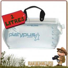 Réservoir souple randonnée légère, Platy Water Tank 2 Litres Platypus. L'un des plus grand réservoir d'eau souple avec bouchon
