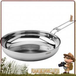 Poêle à frire CampFire Primus en acier inoxydable 18/8, pour le bivouac bushcraft léger utilisation intensive