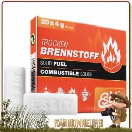 Boite de 20 tablettes de 4g d'essence solide Esbit combustible essence solide pour Réchaud ESBIT ultra léger