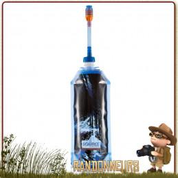 Gourde flexible plastique alimentaire souple LIQUITAINER PRO 1 Litre de Source avec pipette hydratation