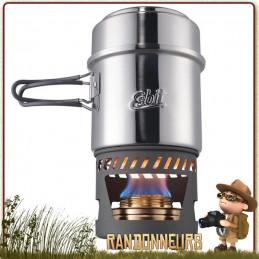 Set de cuisson pour randonner léger ESBIT CS985ST comprenant un réchaud bruleur alcool ultra léger et popote inox