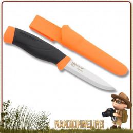 poignard bushcraft Mora Heavy Duty MG orange Lame en acier Carbone 10.5 cm, manche gomme orange extra large