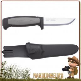 Couteau bushcraft Mora ROBUST Lame en acier Carbone 8.5 cm, manche gomme noir extra large