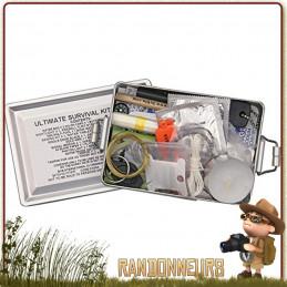 Kit survie ULTIME UK composée de tout le matériel de survie nécessaire, randonnée, bushcraft et aventures