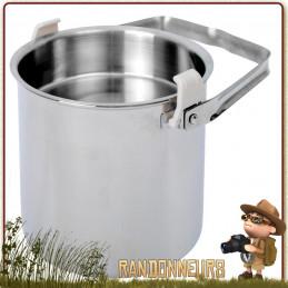 Billy Can relags pot en inox avec poignée de suspension autant pour le transport que la cuisson sur un feu de camp