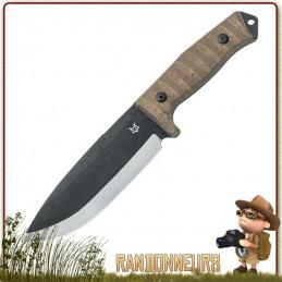 poignard Bushman de Fox Military est un couteau typé bushcraft avec sa grande lame noire de 16 cm en acier D2