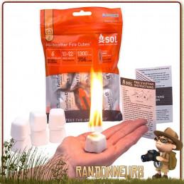 Kit Allume feu tout temps SOL (Survive Outdoors Longer) comprenant des cubes d'amadou brulant en toutes conditions