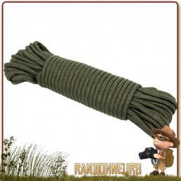 Corde drisse militaire 7 mm de 15 mètres verte tout usage drisse de surplus armée pour bâche tarp militaire