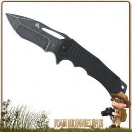 Couteau pliant de survie HUGIN Black Fox entièrement en acier 440C finition stonewashed, lame 8.5 cm à cran intérieur
