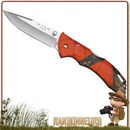 Couteau pliant Buck, le Bantam propose une lame acier 420 de 8 cm à cran intérieur et bouton double
