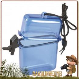 Boite étanche carrée 2.5 cm de diamètre et 11 cm de long tour de cou. Boite étanche joint d'étanchéité sur couvercle avec clip