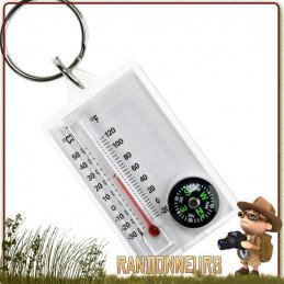 Porte clés avec Mini boussole et compas de navigation avec thermomètre intégré cao