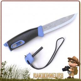 Couteau Mora Companion Spark Bleu, lame inox 10.5 cm avec manche gomme anti dérapant. Pierre à feu intégrée au manche
