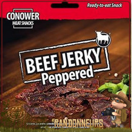 Viande de Bœuf séchée Beef Jerky au poivre Conower  Assaisonnement au poivre. Une viande naturelle protéines