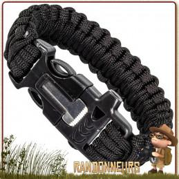 Bracelet paracorde nylon 550 agrémenté d'un kit de survie complet tige ferrocérium allume feu et un grattoir