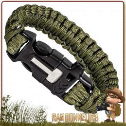 Bracelet Paracorde de Survie Vert Olive Highlander véritable kit de survie complet avec firesteel allume feu et sifflet