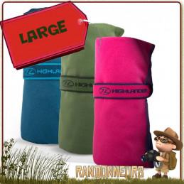 serviette de toilette randonnée ultra absorbante micro fibres highlander pour le camping bivouac léger