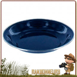 Assiette à soupe de camping tôle émaillée BLEUE highlander Vaisselle tôle émaillée pour le camping bushcraft survie