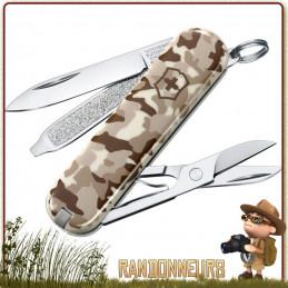 Couteau Suisse Victorinox Classic Camo Désert 7 fonctions lame, lime à ongles, tournevis, ciseaux, pincettes, cure-dents