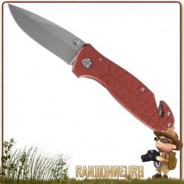Couteau pliant lame acier 420 à cran intérieur et bouton double. Manche de 11 cm en aluminium rouge avec clip
