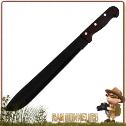 Machette lame tout acier inox, lame noire affutée avec manche en pacca, taille de coupe de 36 cm coupe bushcraft