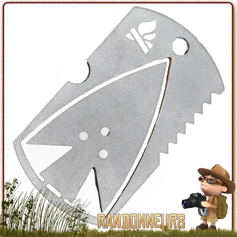 Dog Tag de Survie Bushcraft Essentials acier inoxydable avec scie et pointe de flèche intégrées