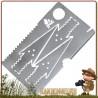 Carte de Survie Bushcraft Essentials - Carte de survie acier inoxydable avec scie, lame et pointes de flèche intégrées