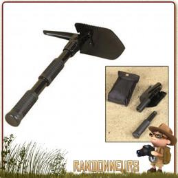 Mini pelle pioche pliante avec pic, idéale pour randonnée, bushcraft et la survie